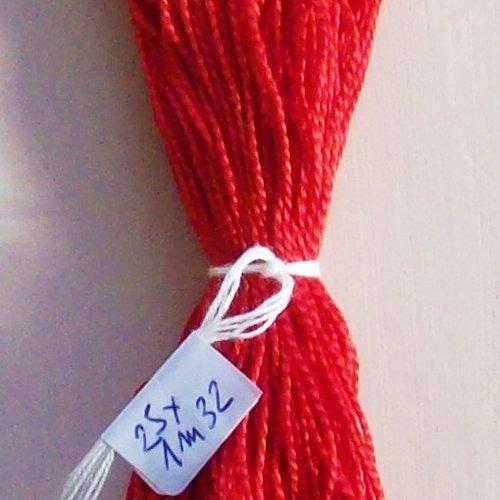 Lot 33m fil coton perlé ancien cb n°5 rouge fil coton perlé cartier bresson / en 25 longueurs de 1m32