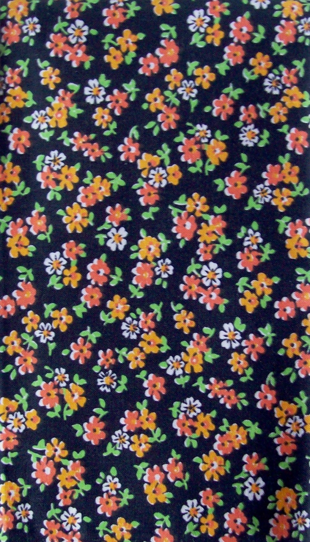 Tissu Petites Fleurs noir/vert/orange 52x46cm