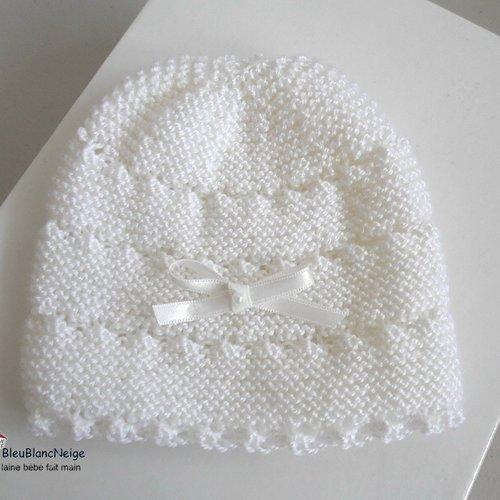 Bonnet Bebe Naissance Coloris Blanc Lait Fille Mousse Rayé Astrakan Tricot Bebe Layette Bb Modèle Sur Commande