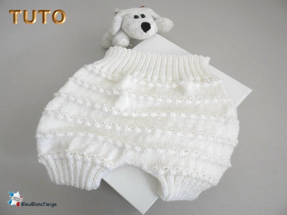 TUTO tu-087 – 3 mois - Fiche tricot bébé, EXPLICATIONS Bloomer ou culotte, short, tricot bb, tuto layette bebe