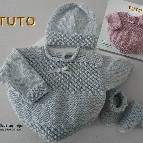Tuto tu-415 – 3 tailles sur le même pdf - fiche tricot bébé , explications brassière bonnet et chaussons tutoriel