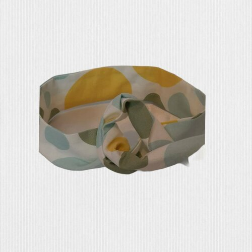 Bandeau headband rigide style vintage, coloris pastel vert et jaune
