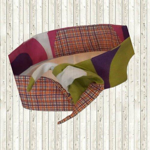 Bandeau headband rigide style vintage, coloris violet et vert