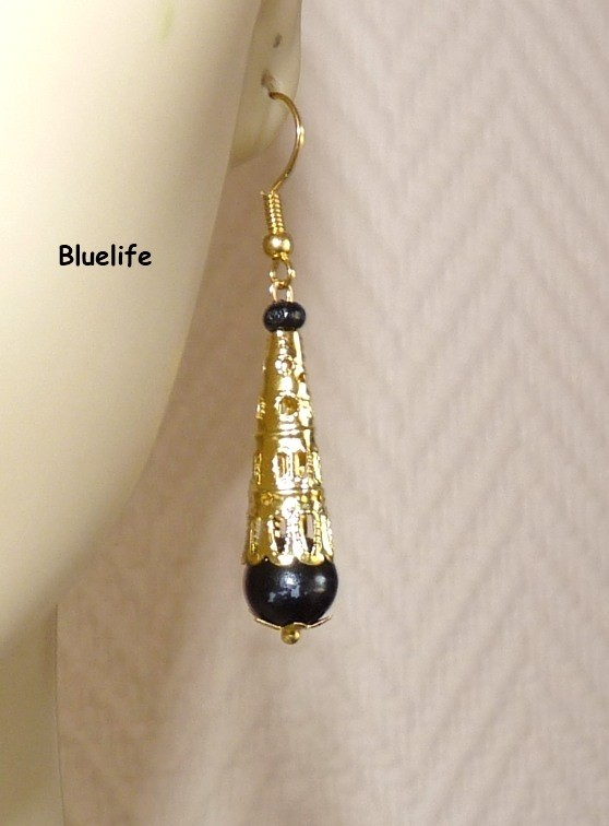 BO Perle Noire Filigrane doré Oriental Ethnique