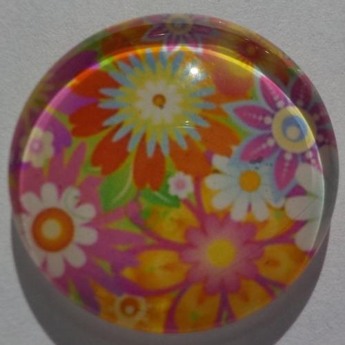 Cabochon de verre fleur multicolore
