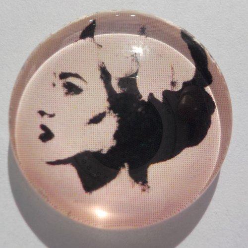 Cabochon de verre femme, rond, 20 mm