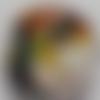 Cabochon de verre, femme, multicolore,