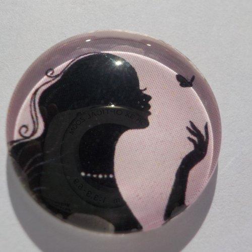 Cabochon de verre rond, femme, 20 mm,