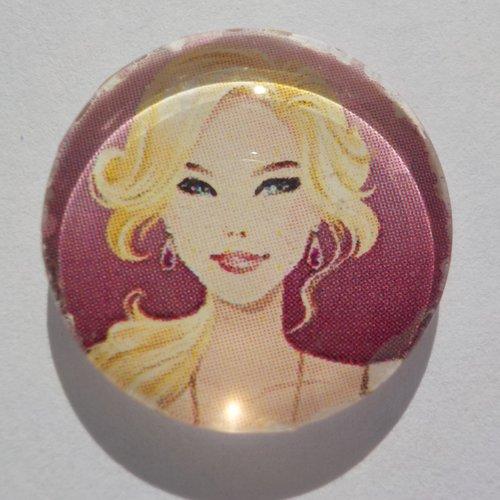 Cabochon de verre femme, rond, 20 mm,