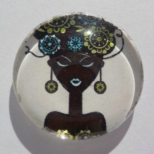 Cabochon de verre femme, rond, 20mm,