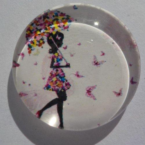 Cabochon de verre femme et son parapluie, 20 mm, rond,
