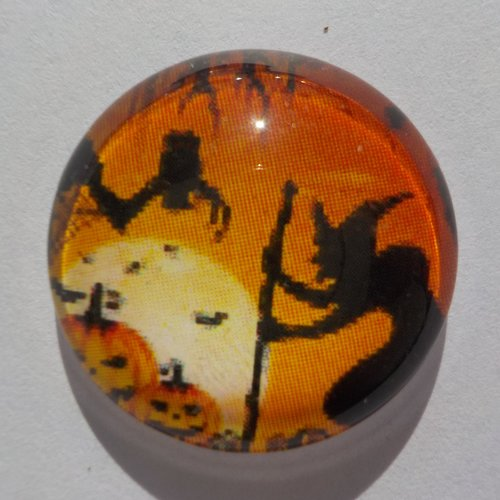 Cabochon de verre, sorcière, halloween, orange,