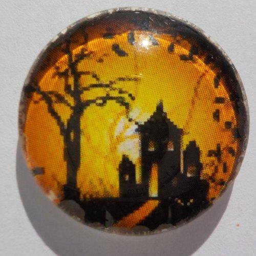 Cabochon de verre maison hantée de halloween