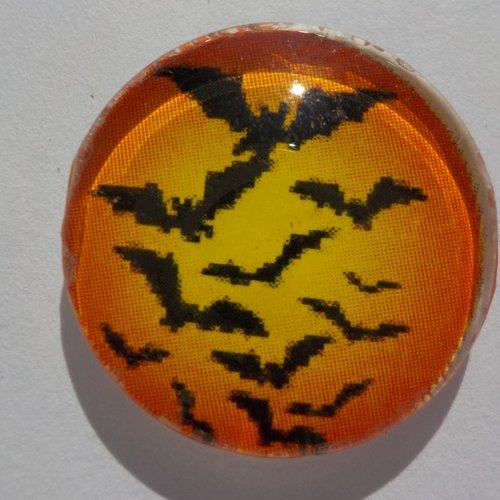 Cabochon de verre chauve souris de halloween orange et noir