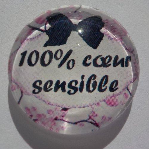 Cabochon de verre 100% coeur sensible, 20 mm,