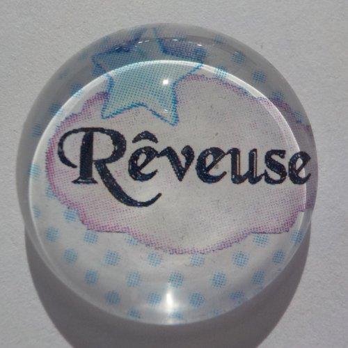 Cabochon de verre avec son image d'écriture rêveuse à pois,bleu, blanc
