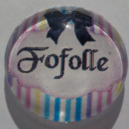 Cabochon de verre rond 20 mm, avec son image fofolle avec un fond à rayures