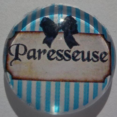 Cabochon de verre rond en 25 mm, écriture paresseuse