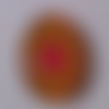 Cabochon de verre, mandala, jaune, rose, ovale, 25x18 mm