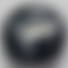 Cabochon de piano, verre, rond, 25 mm, noir, blanc