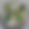 Cabochon, papillon vert, verre, rond, 20 mm