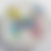 Cabochon, papillon multicolore, verre, rond, 20 mm