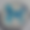Cabochon, papillon bleu, verre, rond, 20 mm