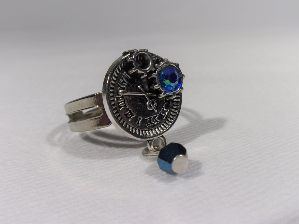 """bague style steampunk """"blue time"""""""