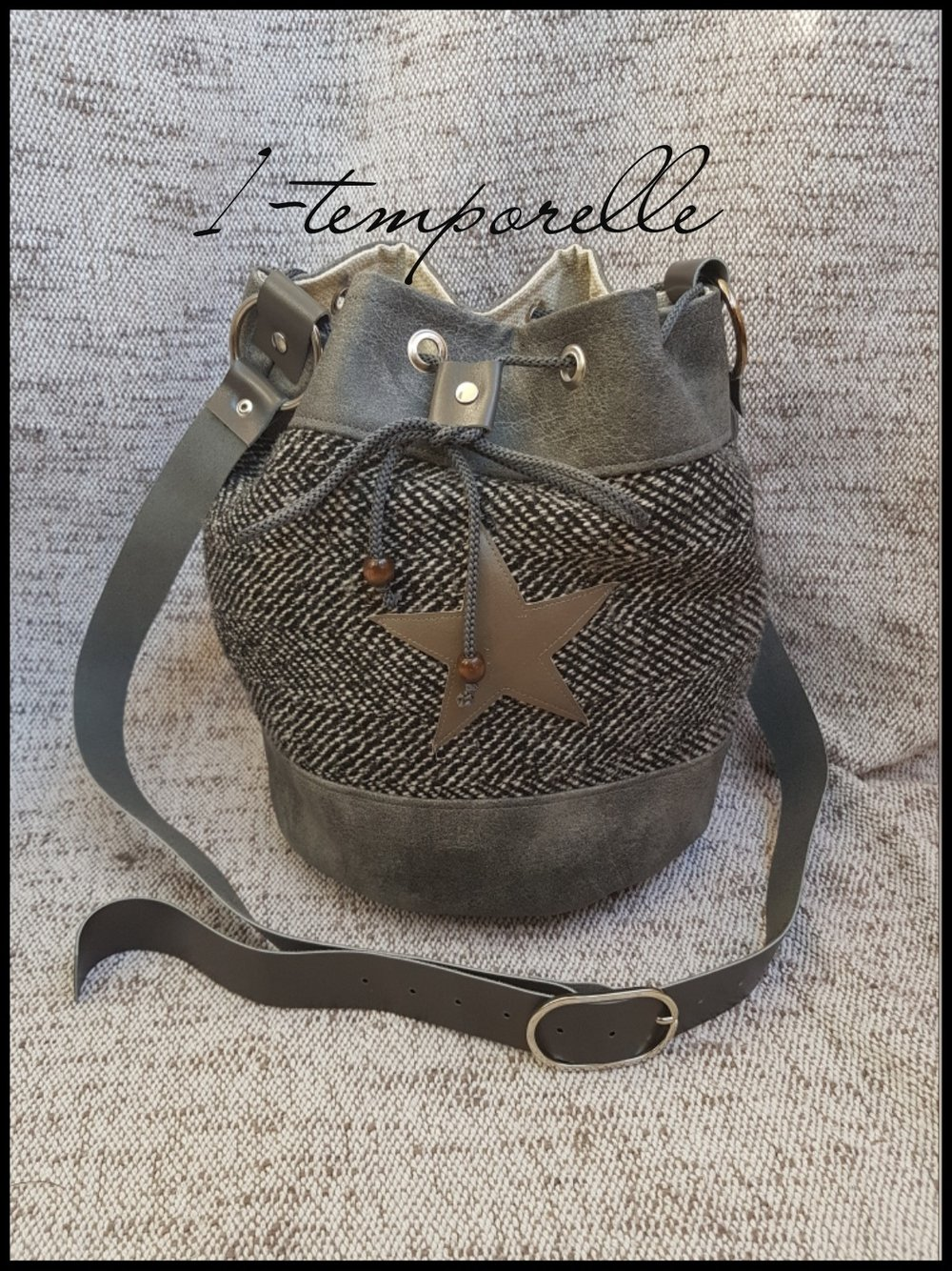 sac sceau tweed recyclé et simili cuir gris