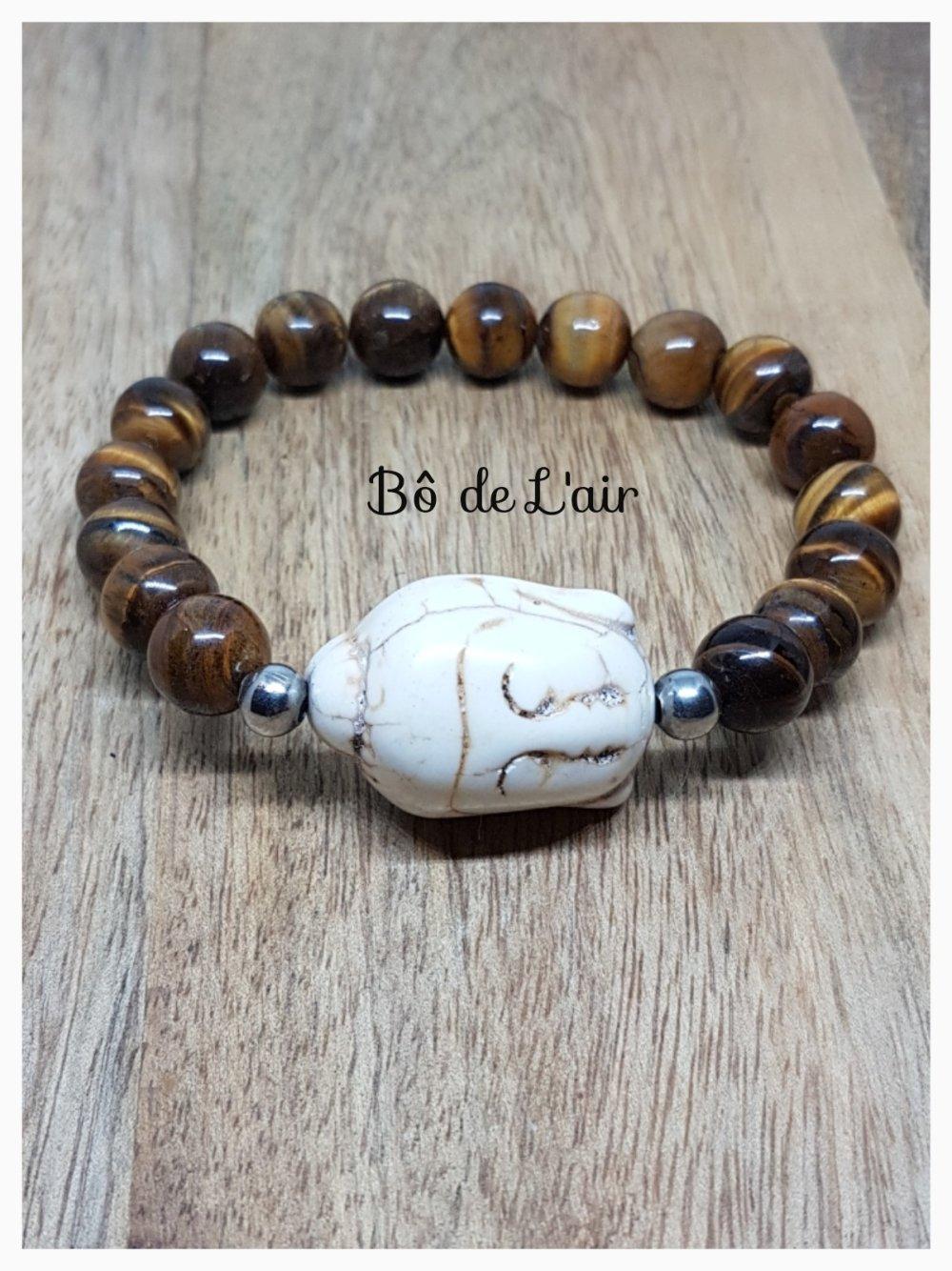 Bracelet oeil de tigre et tête de bouddha howlite blanche