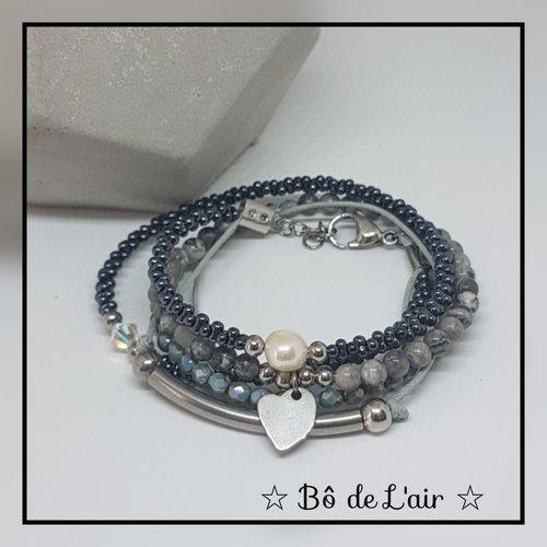 Bracelet double tour acier inoxydable et jaspe océan