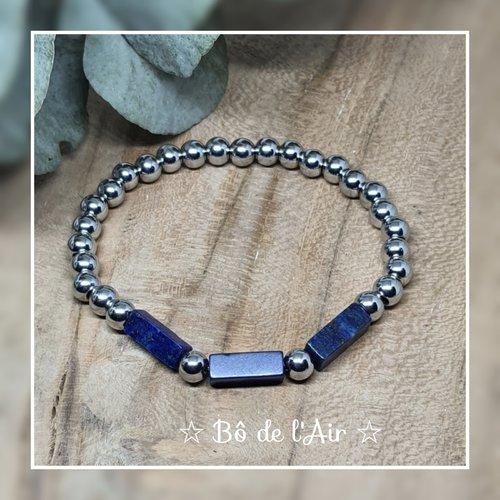 Bracelet perles acier inoxydable et lapis