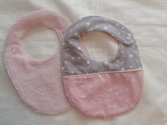 bavoirs bébé en tissu et éponge rose pâle fermeture par pression taille 0-6 mois - en lot de 3 motif étoiles