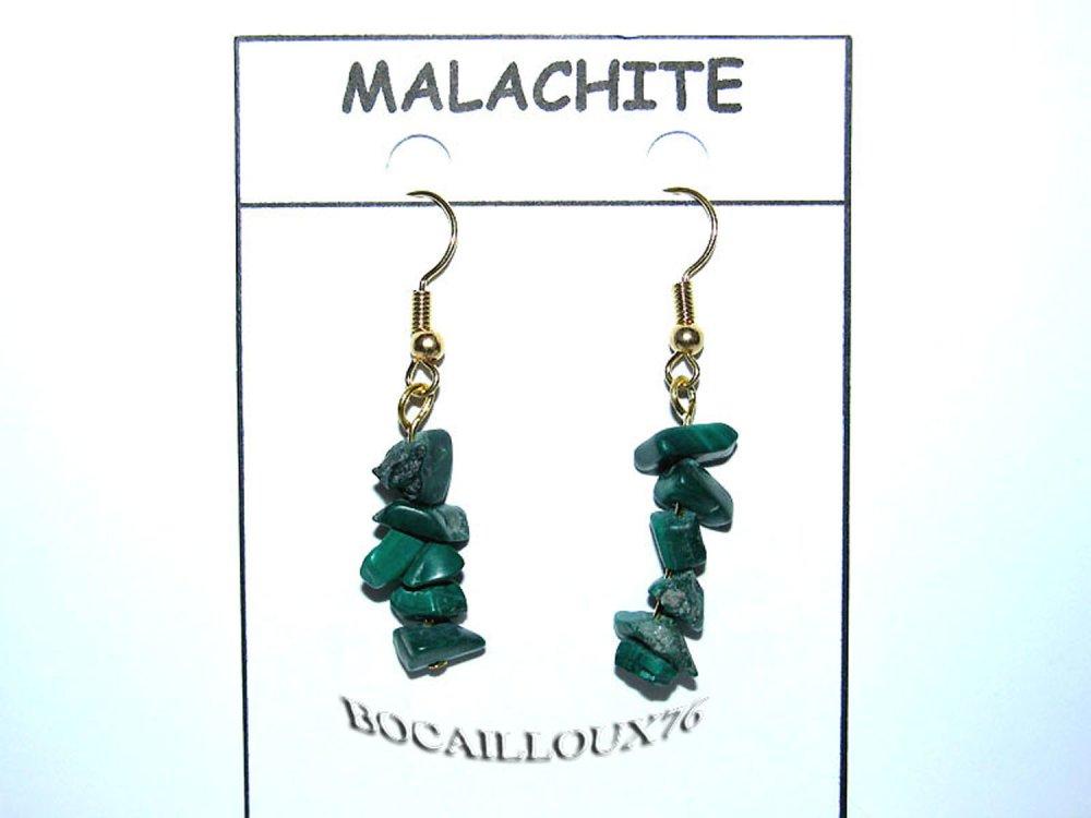 BOUCLE Oreille MALACHITE 6*  - Crochet DORE
