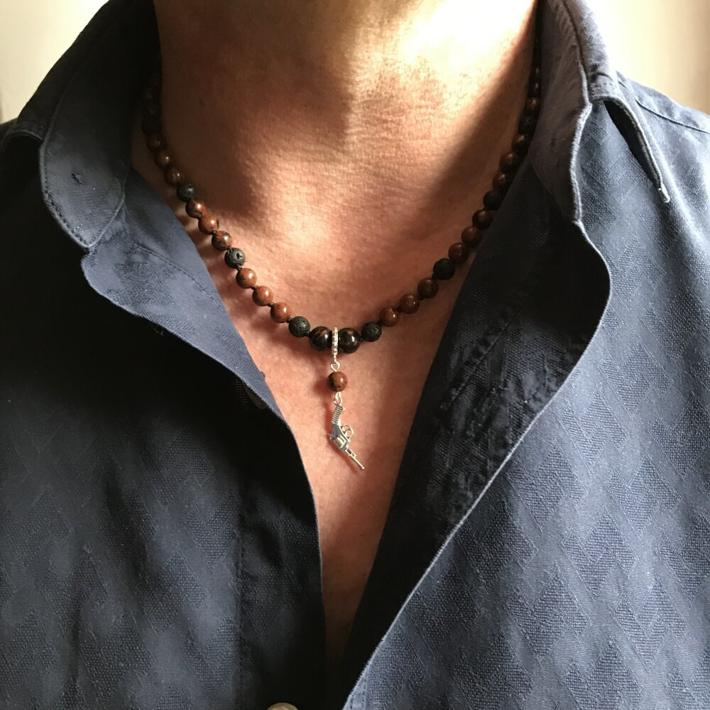 Collier homme/ pierre naturelle/bijoux bohème/ tour de cou/perles de laves/obsidienne acajou /accessoires homme/fabrication française
