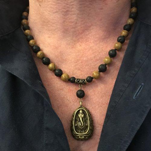 Homme Naturel Collier Obsidienne Perles Pendentif Sautoir Pierre Breloque