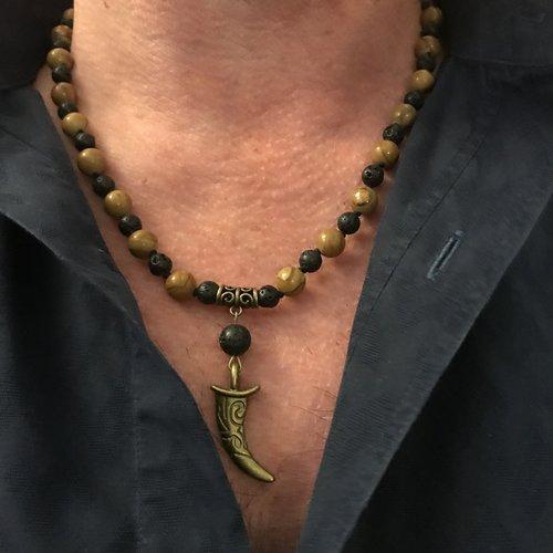 collier corne homme