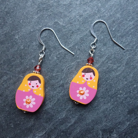 Boucles d'oreilles bohemian poupée russe matriochka orange