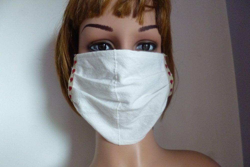 masque de visage réutilisable en coton, elastiques, masque protecteur, coeurs, blanc cassé, réutilisable, coton