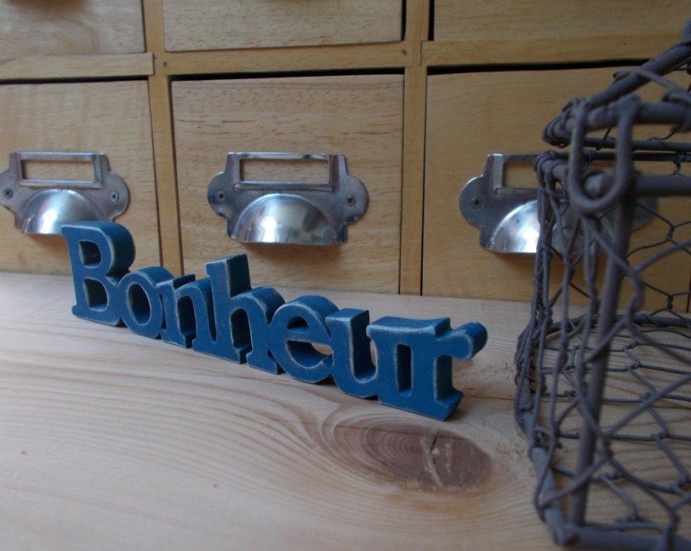 Mot décoratif en bois Bonheur - Mot décoré en bois Bonheur bleu canard
