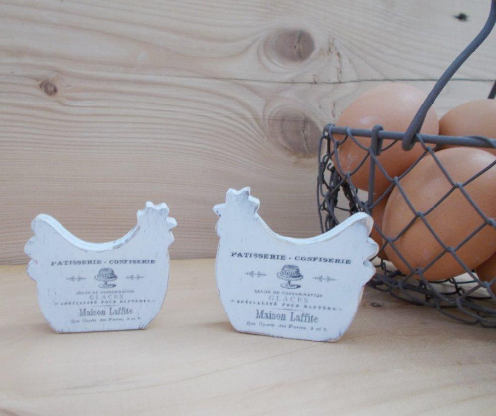 Commande Mireille : boutons de porte/tiroir en bois forme poule