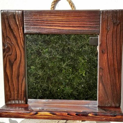 Miroir mural en bois  , bois brulé shou sugi ban