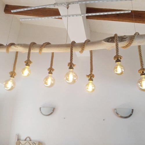 Lustre suspension luminaire bois flotte, lustre bois flottant ,chandelier , plafonnier