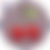 Cabochon en verre thème cerise 25 mm