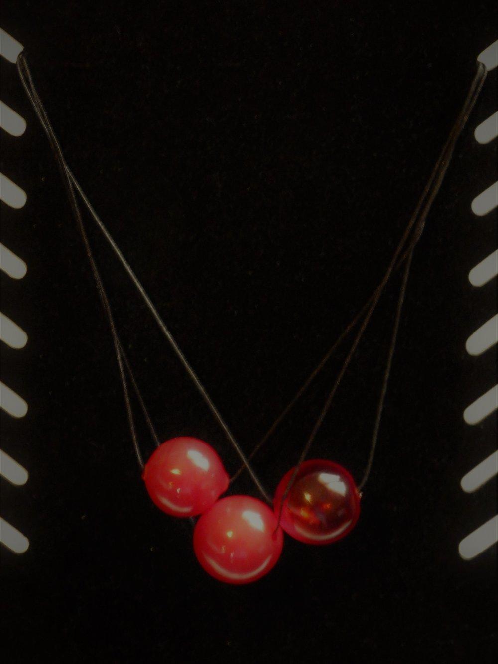 Collier ras du cou PERLES rouges en VERRE SOUFFLE