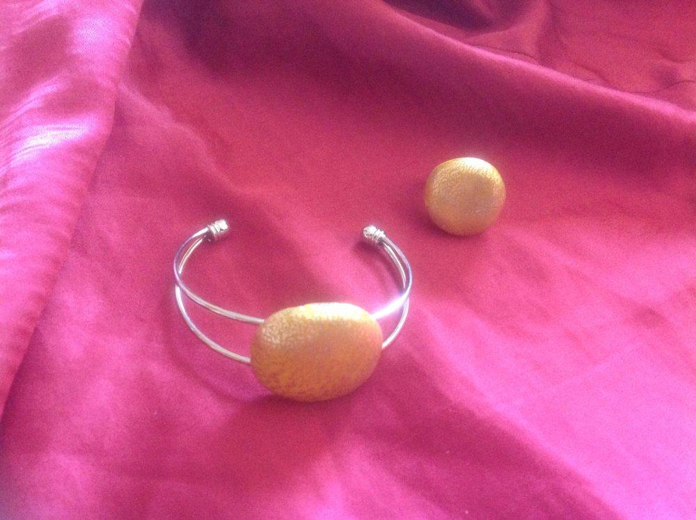 Parure bracelet et bague FImo jaune