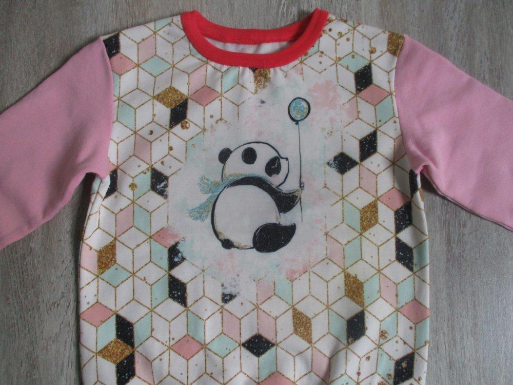 Pull sweat bio motif panda taille 5 ans