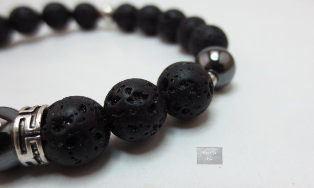 Bracelet homme pierres naturelles gemmes Hématite