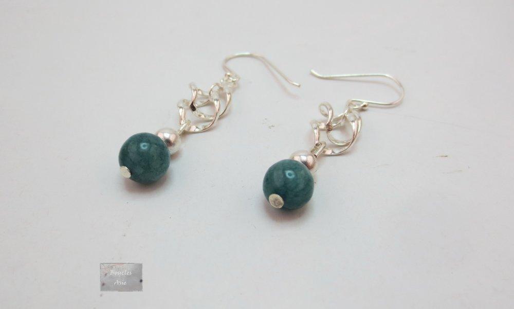 Boucles d'oreilles Argent 925 et pierre fine naturelle Amazonite