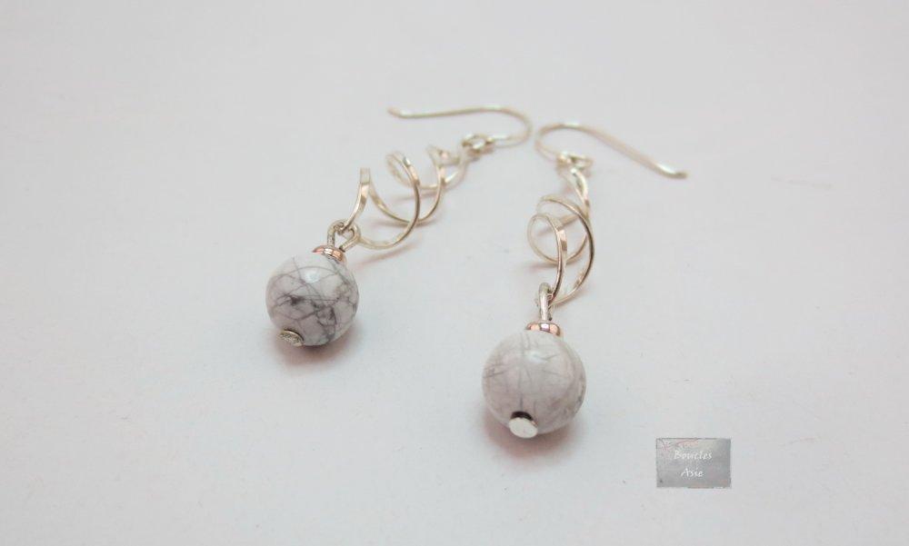 Boucles d'oreilles Argent 925 et pierre fine naturelle Howlite